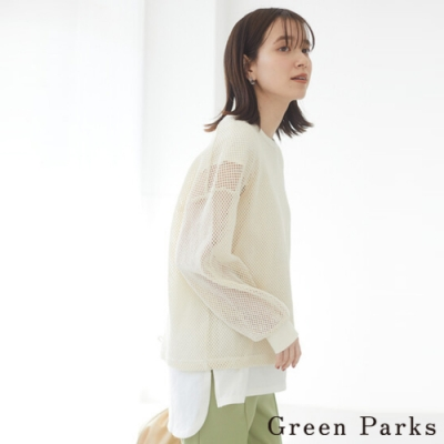 Green Parks 【SET ITEM】特色網狀圓領上衣+素面T恤上衣