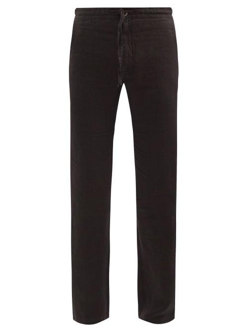 120% Lino - Drawstring Linen Straight-leg Trousers - Mens - Black