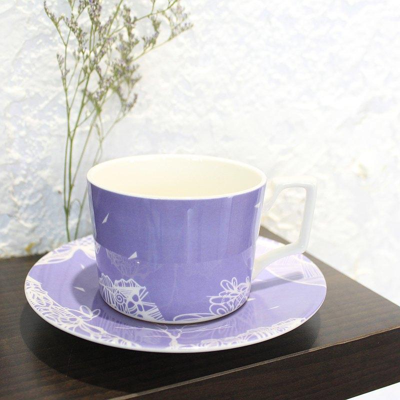 骨瓷咖啡杯盤組 紫色