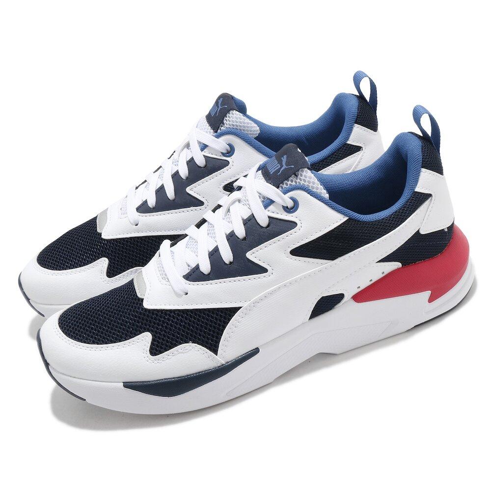 PUMA 休閒鞋 X-Ray Lite 復古 男女鞋 皮革鞋面 緩震 透氣 情侶鞋 穿搭推薦 白 藍 [37412210]