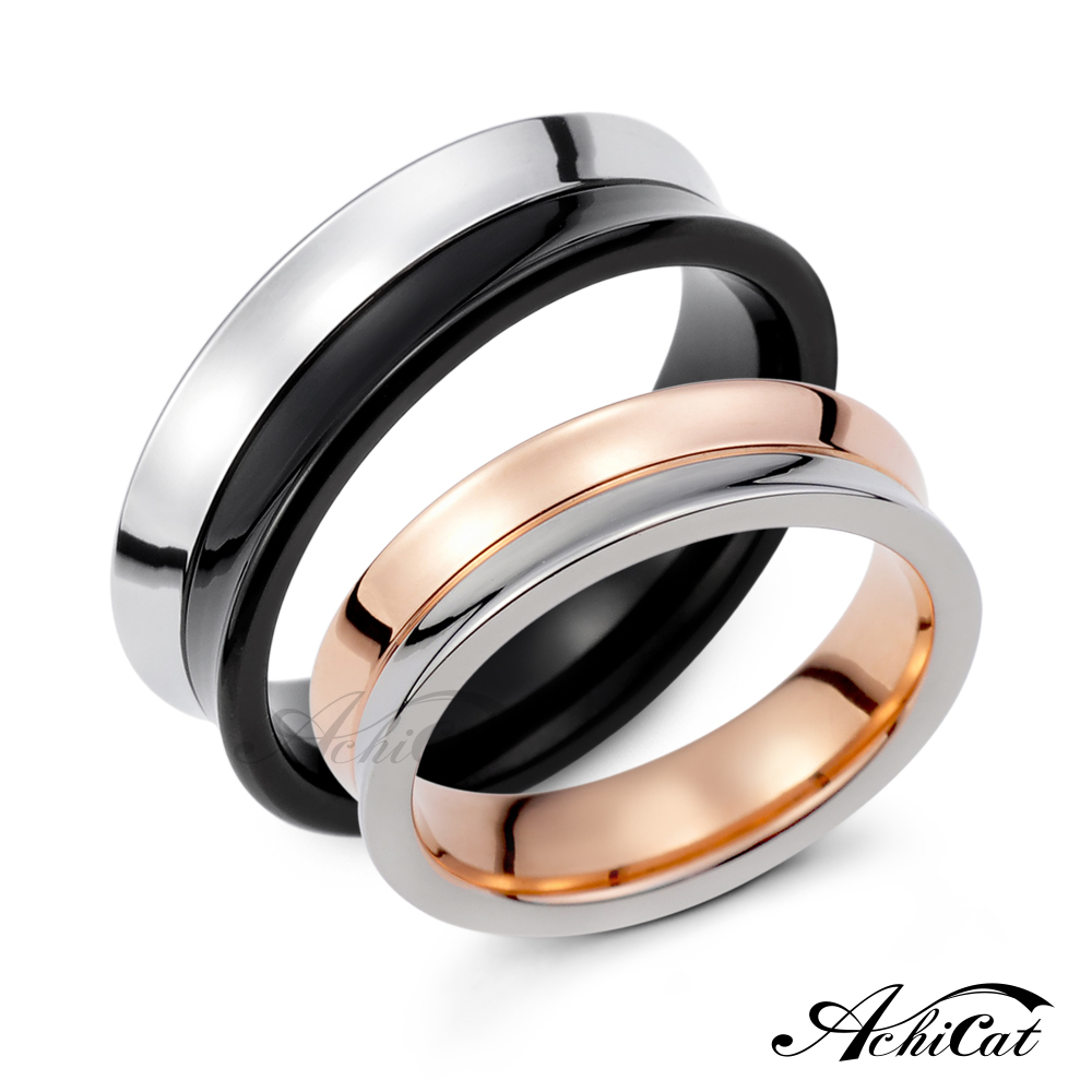 AchiCat 情侶戒指 珠寶白鋼戒指 永恆時光 素面對戒 單個價格 情人節禮物 A583