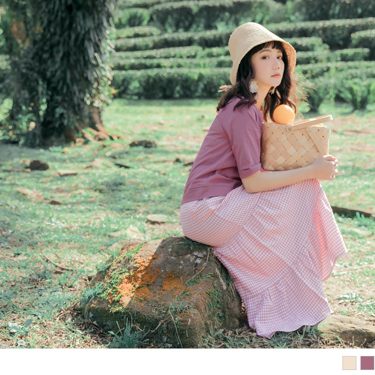 純色高含棉針織假兩件不易皺蛋糕長洋裝