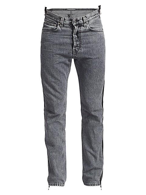 Zippered High-Rise Straight-Leg Jeans