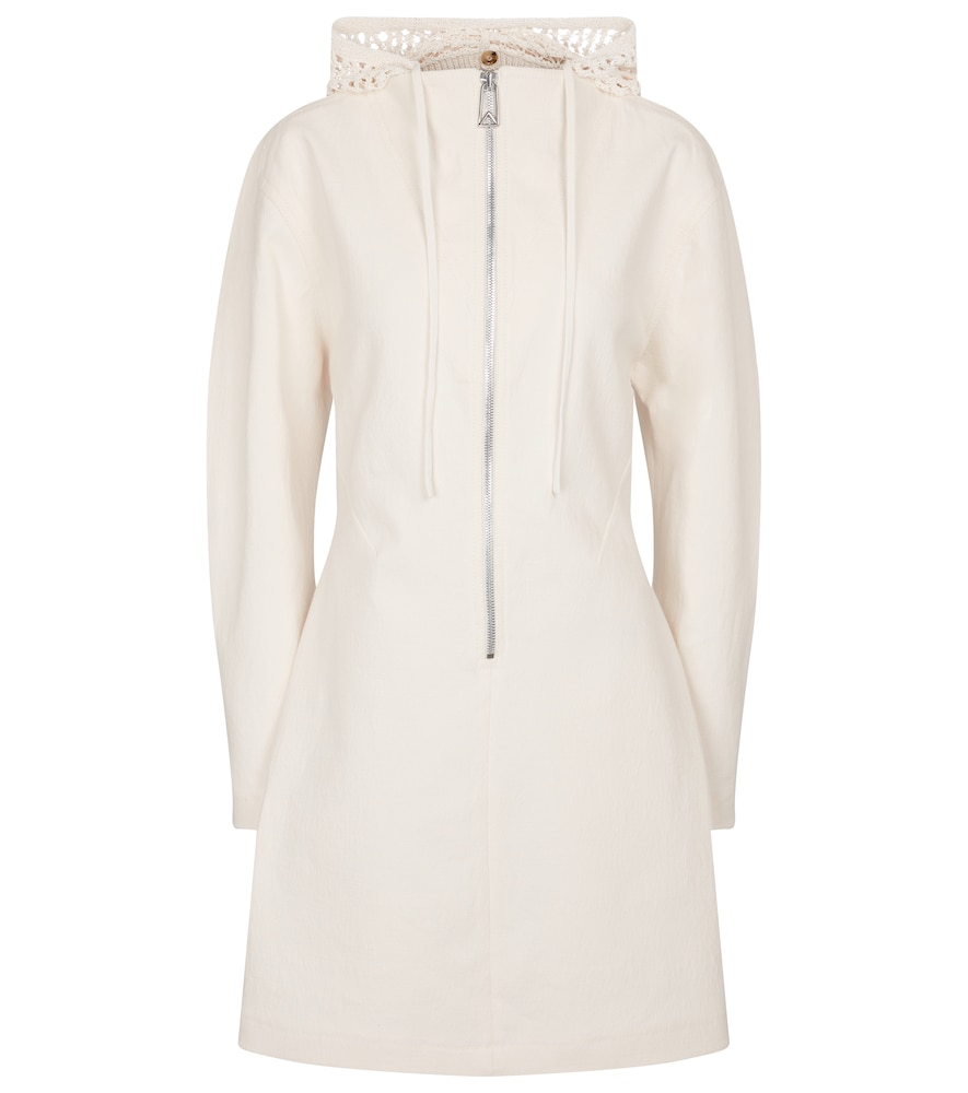 Hooded stretch-linen canvas minidress