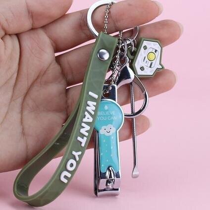 鑰匙扣 指甲刀鑰匙扣帶挖耳勺女可愛ins掛件網紅指甲剪掛件多功能三件套