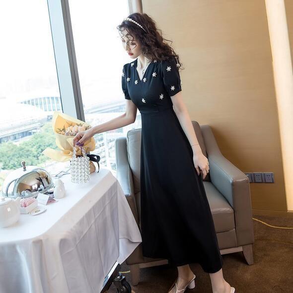 洋裝 短袖 裙子 S-XL新款名媛高端禦姐小香風手工珠中長款連身裙G653B-8685.胖胖美依