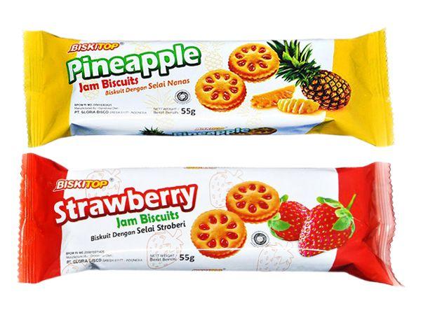 BISKITOP~多果醬鳳梨/草莓夾心餅(55g) 款式可選【DS000706】