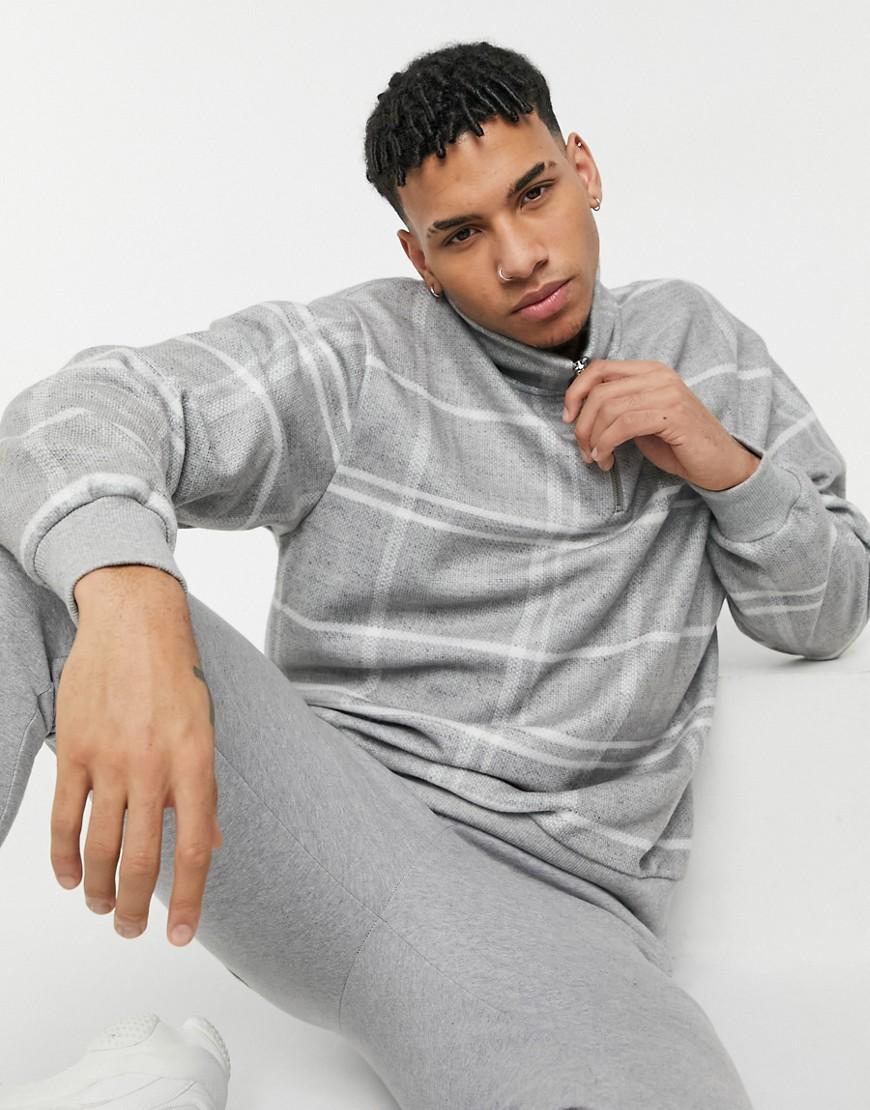 Topman windowpane check half zip sweatshirt in grey