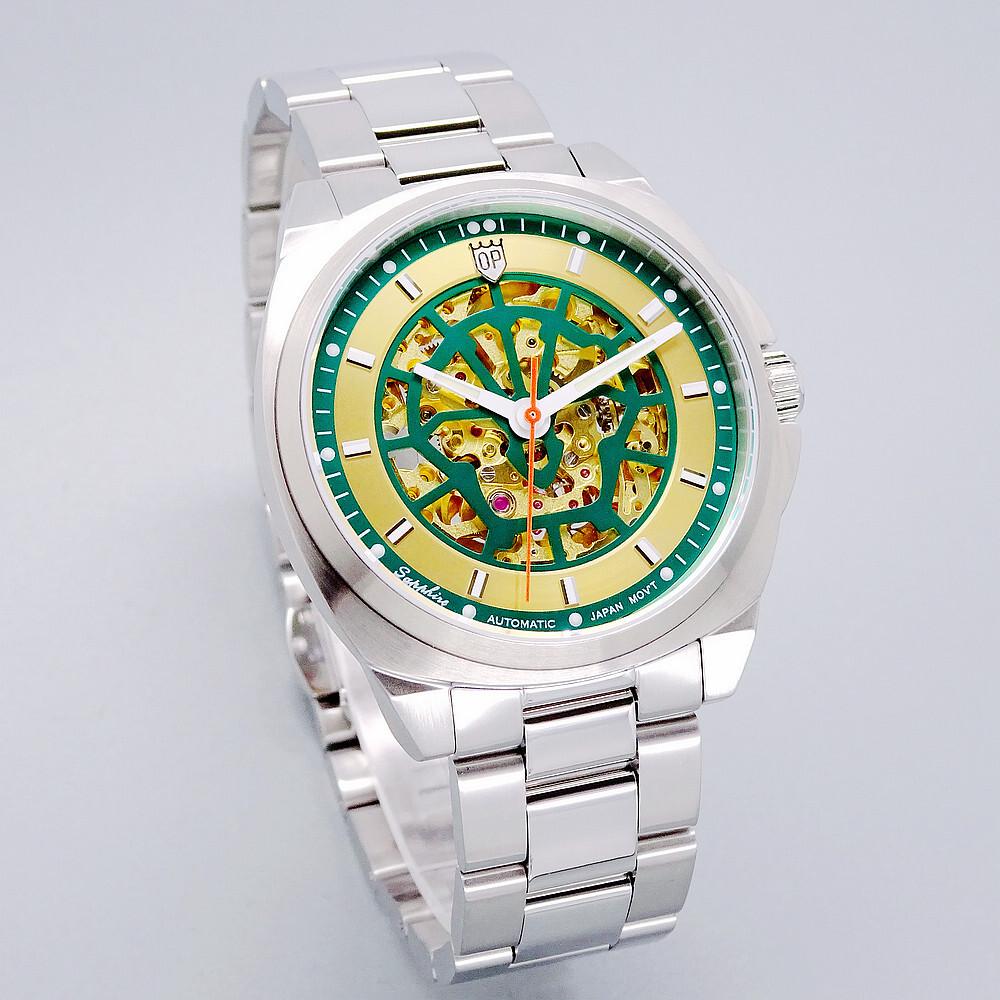 olym pianus 奧柏表 歷史圖騰的極致鏤空造型機械式腕錶-綠-9935-4.1ams