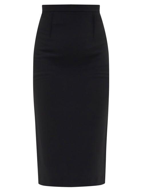 Roland Mouret - Arreton High-rise Jersey Midi Skirt - Womens - Black