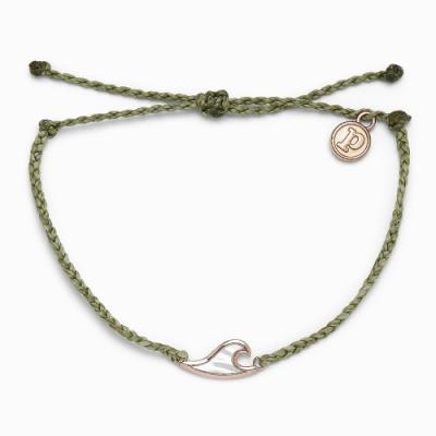 Pura Vida 美國手工 珍珠貝玫瑰金WAVE 草綠蠟線可調式衝浪手環