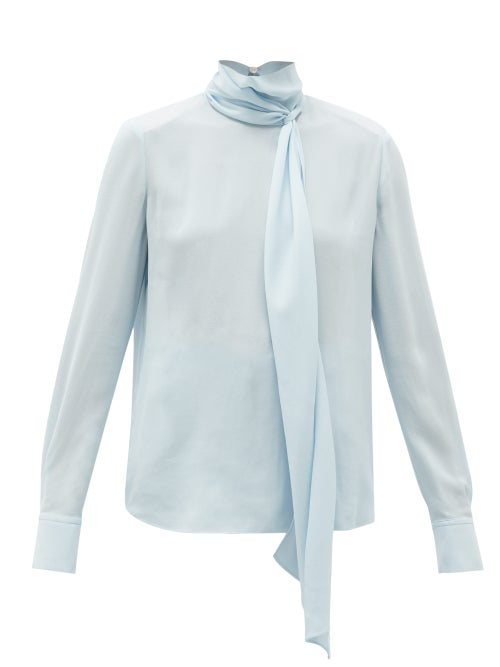 Another Tomorrow - Tie-neck Crepe Blouse - Womens - Light Blue