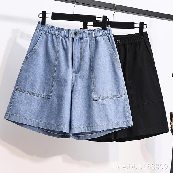 短褲女 大碼女裝夏季新款顯瘦高腰寬鬆闊腿工裝復古a字五分牛仔短褲 星河光年