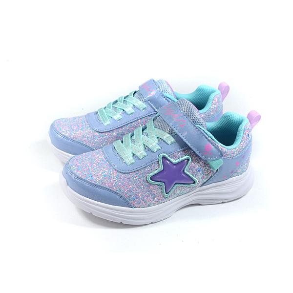 SKECHERS S-LIGHTS 運動鞋 電燈鞋 有開關 童鞋 魔鬼氈 粉藍色 302310LLVAQ no296