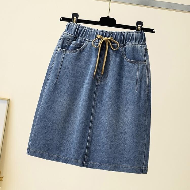 牛仔短裙 大碼女裝夏季mm牛仔短裙鬆緊腰寬鬆顯瘦遮肚半身裙