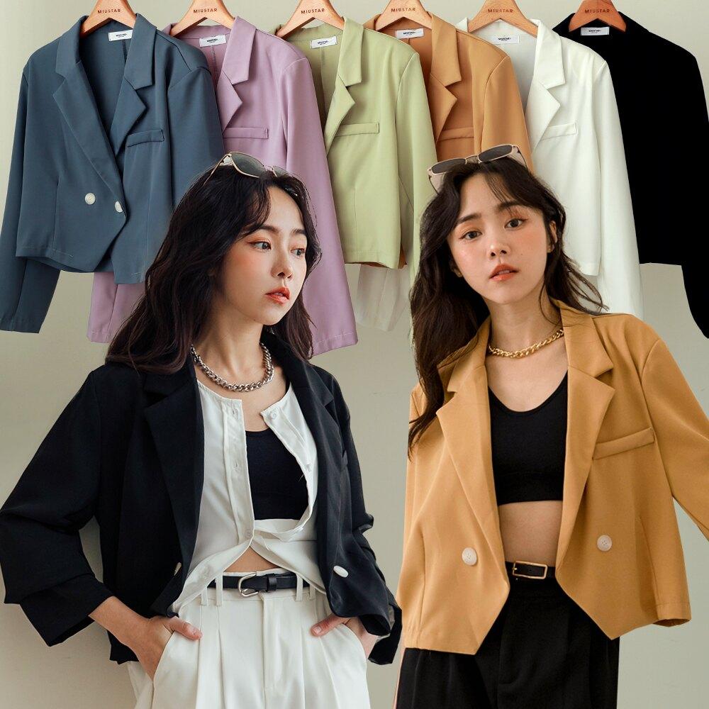 MIUSTAR 時髦維他命色 雙釦短版墊肩西裝外套(共6色)西裝外套 0330 預購【NJ0807】