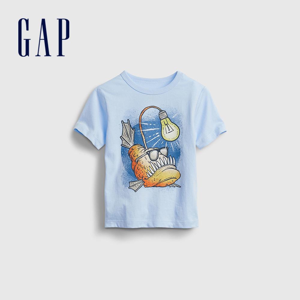 Gap 男幼童 布萊納系列 可愛純棉印花短袖T恤 681424-淺藍色