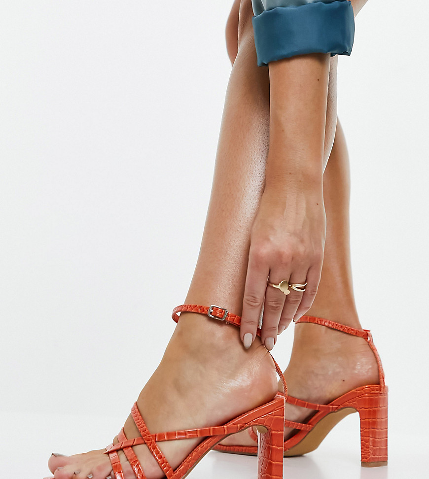 Public Desire Wide Fit Charms block heeled sandals in orange croc