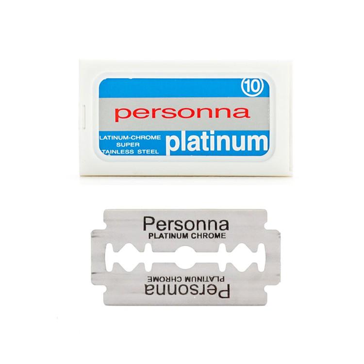 Personna - 超級白金 不鏽鋼 雙面刮鬍刀片(10片 / 通用復古傳統安全手動刮鬍刀 老式雙刃刀架刀片 剃鬚刀)