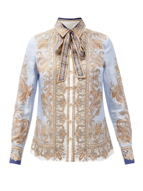 Zimmermann - Luminous Pussy-bow Paisley-print Silk Shirt - Womens - Blue Print