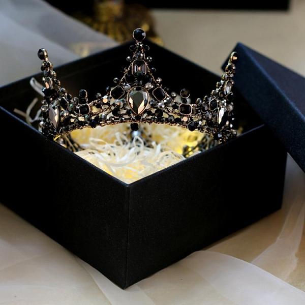 歐式黑色頭冠新娘頭飾皇冠女十八歲網紅同款成年禮物生日公主王冠 青木鋪子