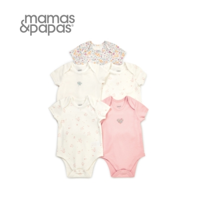 Mamas&Papas 花季飄飄-短袖包屁衣5件組
