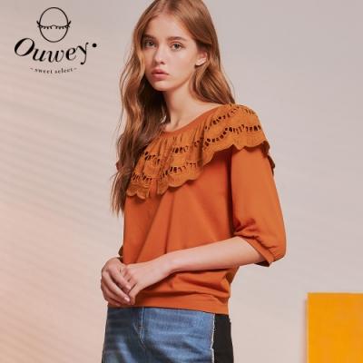OUWEY歐薇 蕾絲大圓領高含棉上衣(磚)3211061001