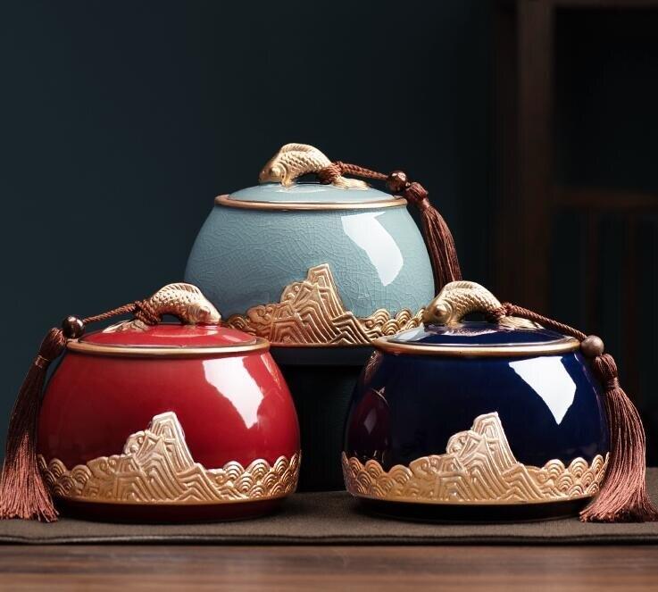 茶葉罐 哥窯陶瓷茶葉罐大小號密封罐家用普洱茶葉儲存罐中式茶葉盒存茶罐