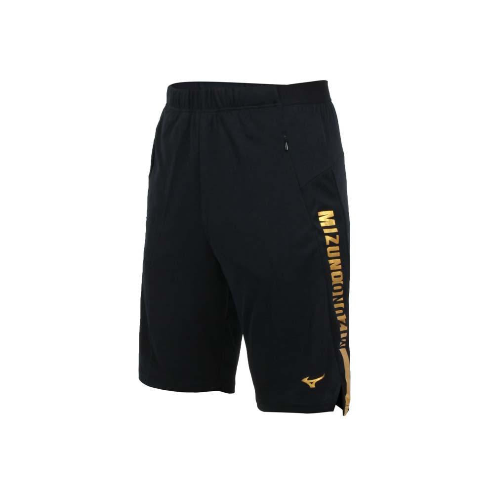 MIZUNO 男針織短褲-吸濕排汗 抗UV 慢跑 五分褲 美津濃 咖啡紗 黑金