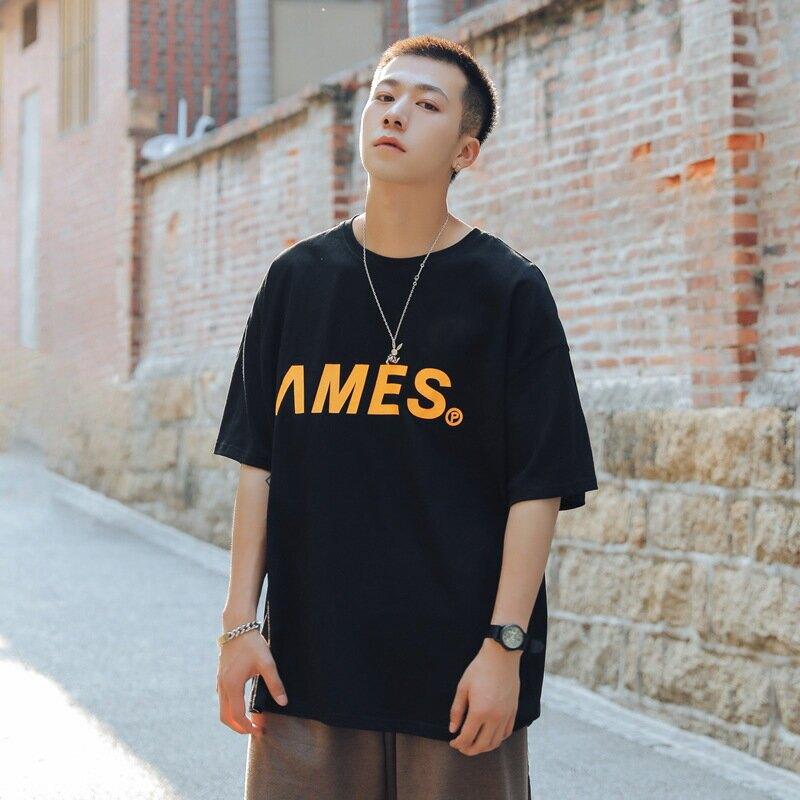 【純棉】短袖T恤潮流寬鬆型男風2020夏季新款短袖T恤男字母印花