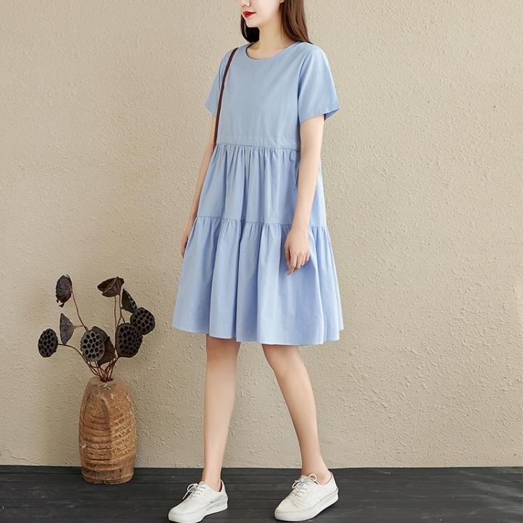 蛋糕裙 棉麻短袖連身裙女夏季文藝小清新收腰繫帶顯瘦蛋糕裙小個子休閒裙