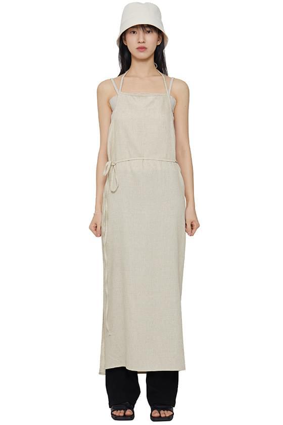 韓國空運 - Linen wrap sleeveless long dress 長洋裝