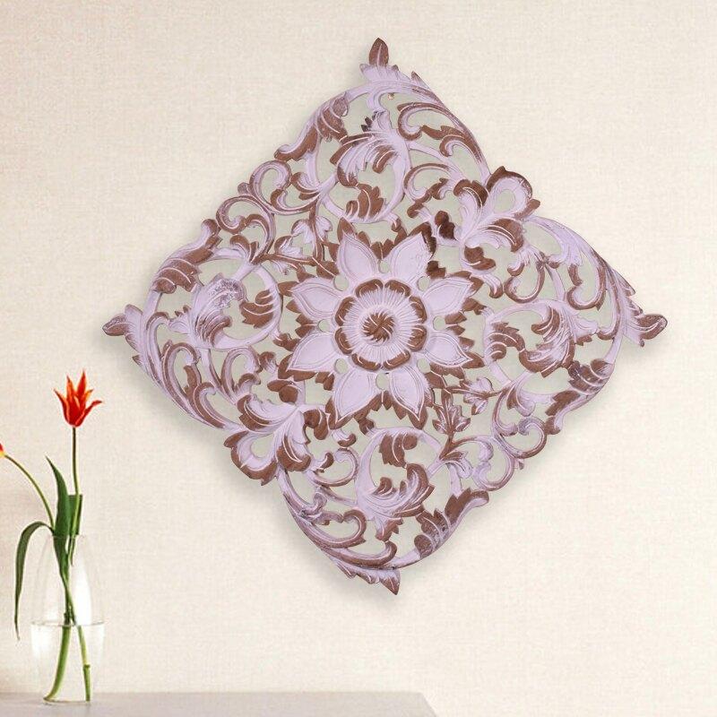 東南亞柚木木雕畫 泰國進口手工縷空雕刻方形玄關壁飾復古雕花板