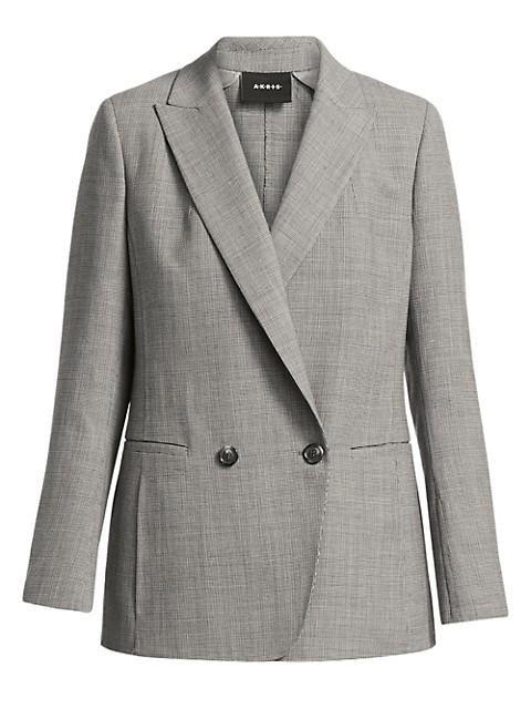 Dandre Micro Houndstooth Wool Blazer Jacket