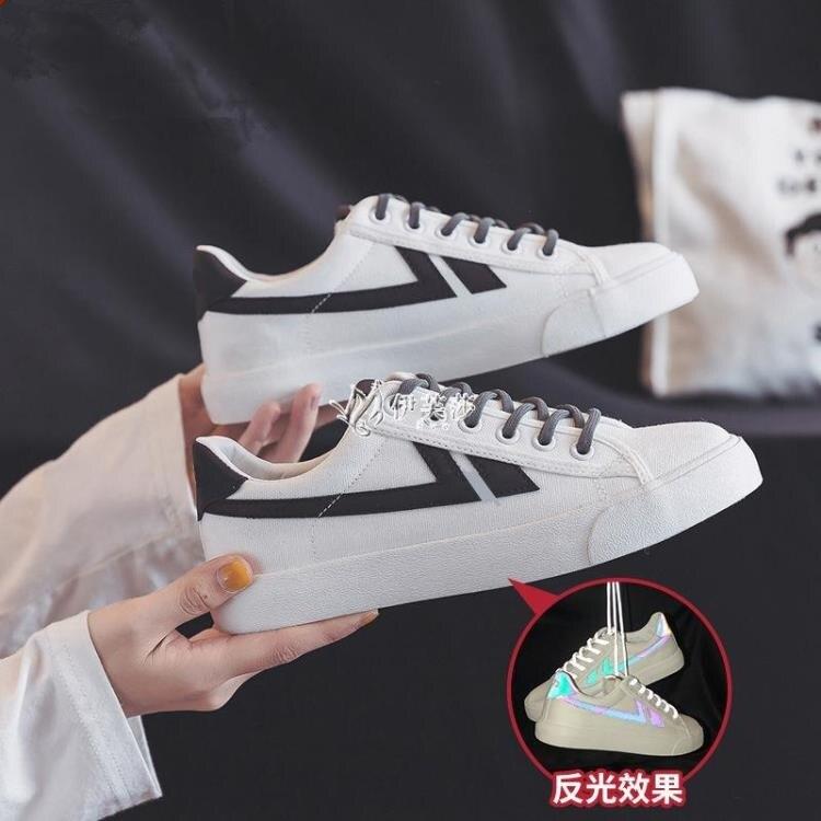小白鞋女新款春秋季爆款薄款低幫帆布鞋百搭學生板鞋子
