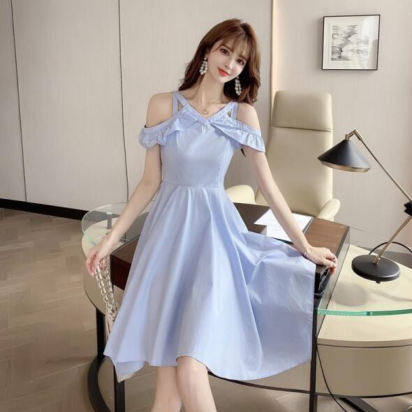 洋裝 露肩 裙子S-XL新款設計感氣質露肩大擺不規則荷葉邊連身裙T235-5005.胖胖美依