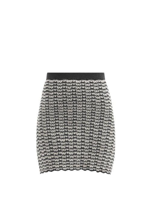 Escvdo - Ana High-rise Hand-crocheted Cotton Mini Skirt - Womens - Navy