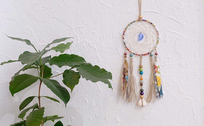 手作和風擴香石捕夢網掛飾 - 藍色勾玉