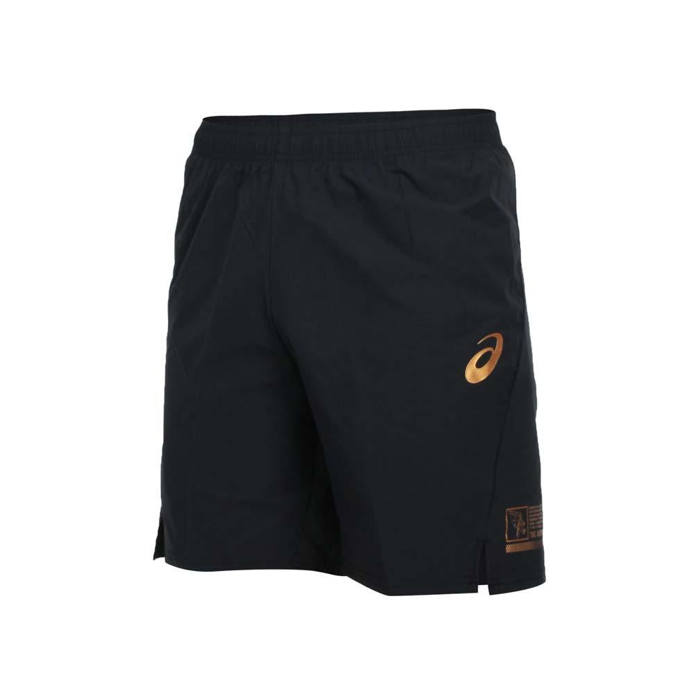 ASICS 男排球短褲-平織 五分褲 運動 慢跑 路跑 亞瑟士 黑金