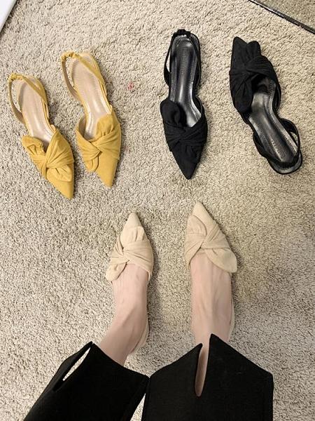 包頭涼鞋女仙女風2021年夏季新款平底百搭網紅溫柔尖頭涼鞋ins潮 韓國時尚週