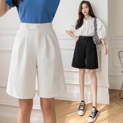 時尚後鬆緊純色五分西裝寬褲S-XL(共二色)-Dorri