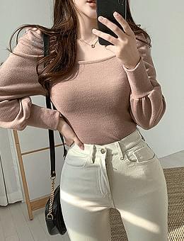 韓國空運 - Buttering puff square-neck off-shoulder T-shirt 長袖上衣