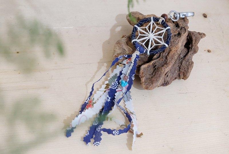 和風麻の葉捕夢網匙扣 - 深藍