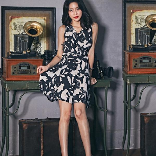 OL洋裝 禮服裙S-XL夏新款時尚氣質顯瘦v領系帶印花a字裙碎花連身裙子 6191#H506快時尚
