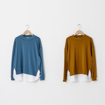 【KiKi】立領拼接襯衫擺-女長袖上衣(二色/魅力商品/版型適中)
