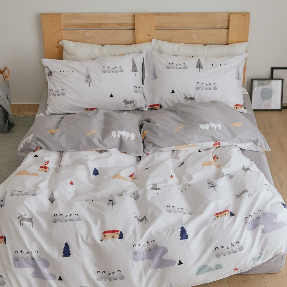 翔仔居家 100%精梳純棉 薄被套床包組【小鎮】多尺寸任選 ikea風格 純棉 床包 被套 台灣製
