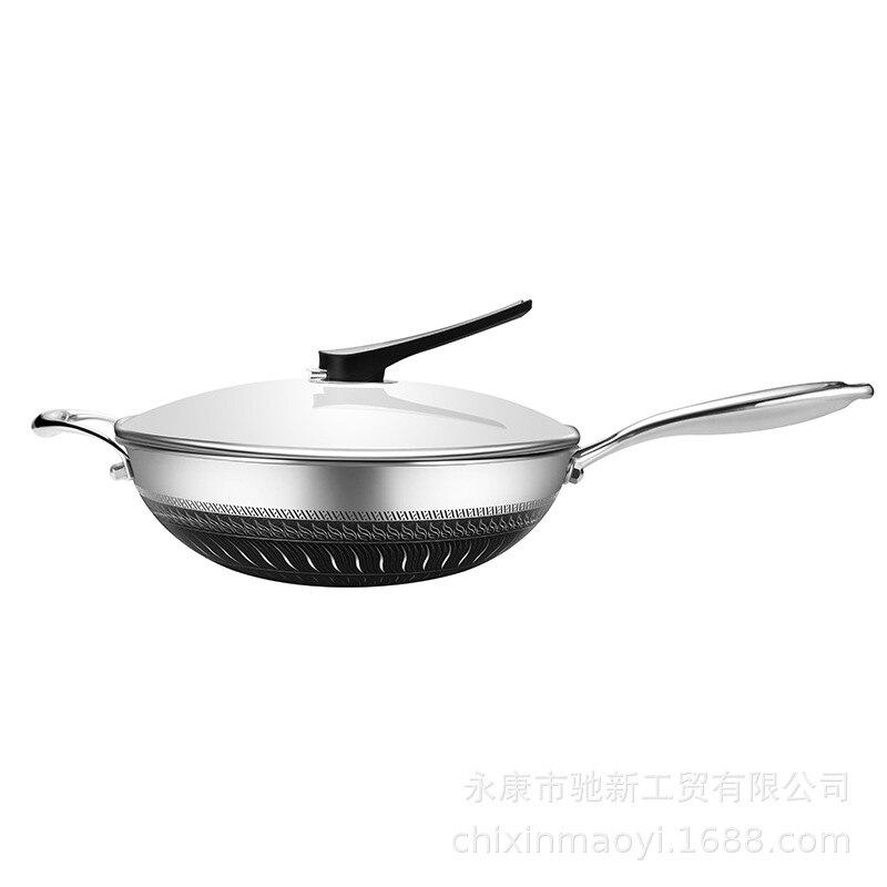 304雙面屏不銹鋼炒鍋 無涂層不粘鍋平底家用炒菜鍋電