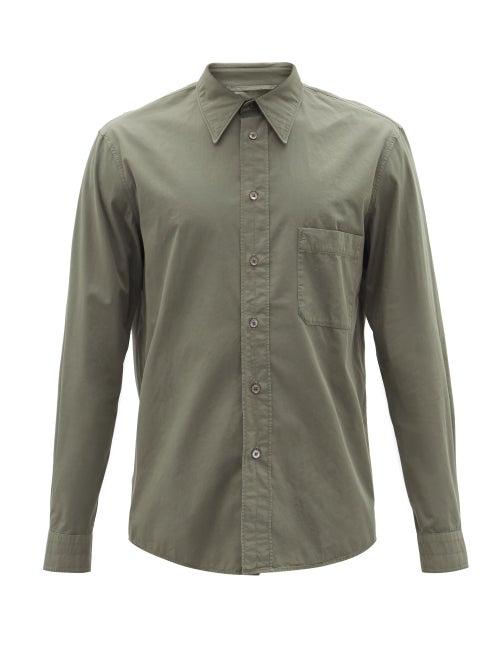 Lemaire - Patch-pocket Cotton-poplin Shirt - Mens - Grey