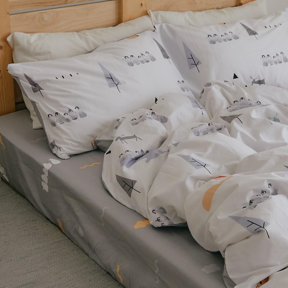 翔仔居家 100%精梳純棉 兩用被套床包組 單/雙/加/特【小鎮】 ikea風格 床包 被套【鋪棉兩用被套 超取限一組】