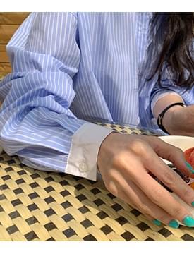 韓國空運 - Pinstripe shirt long Dress 長洋裝